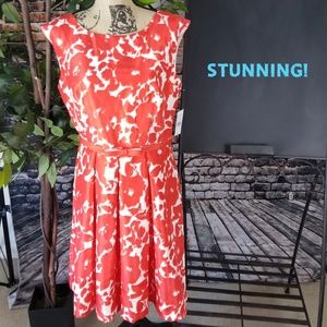 NWT Danny and Nicole Red/Orange and white dress